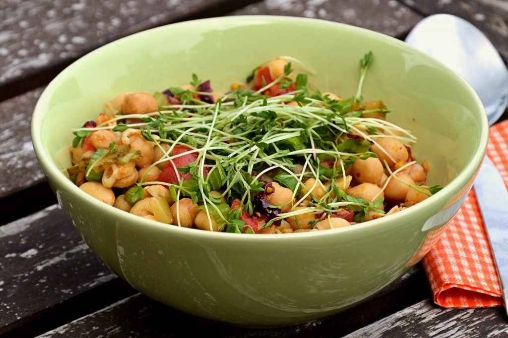 A healthy, delicious, meat-free Chickpea salad bowl